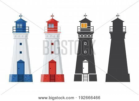 Blue and red lighthouse icon in different styles. Sea guiding light houses in flat and outline design. Searchlight or beacon cartoon illustration and silhouette.