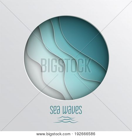Paper cut out round frame with abstract blue sea summer background with curve paper wave and seacoast for banner poster or web site design. Paper cut style sea waves text vector illustration