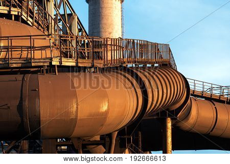 LIPETSK, RUSSIA - JUNE , 2017: Metallurgical plant NLMK Group. Large rusty flues metallurgical enterprise Industrial architecture