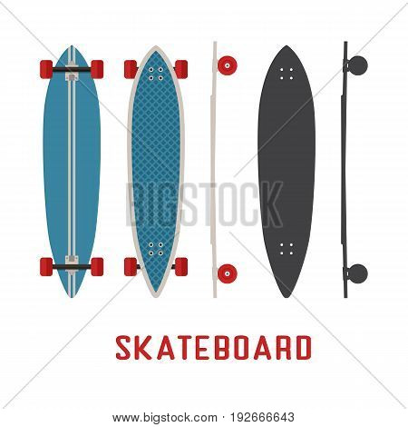 Blue longboard skateboard bottom, top and side view. Vector skateboarding deck in flat and outline design.