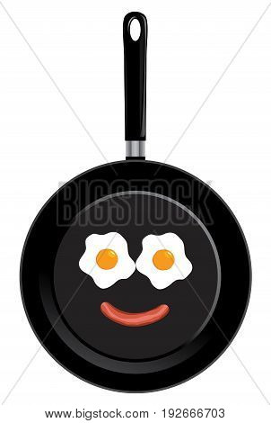Vector illustration of a frying pan with smile face. Breakfast fried eggs and sausage.
