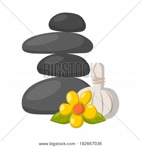 Vector Cartoon Relax, Massage Stones