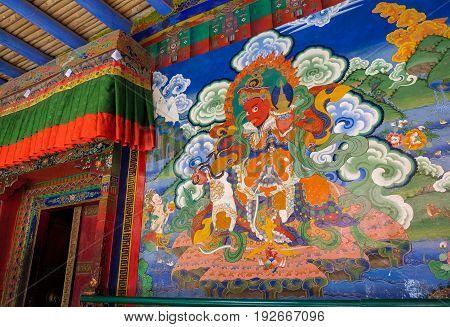Leh India - April 28 2017 :Tamdrin (or Hayagriva) the horse-headed wrathful deity painting on wall at Lamayuru monastery in Ladakh India