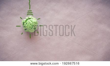 Green paper light bulb eco energy saving concept