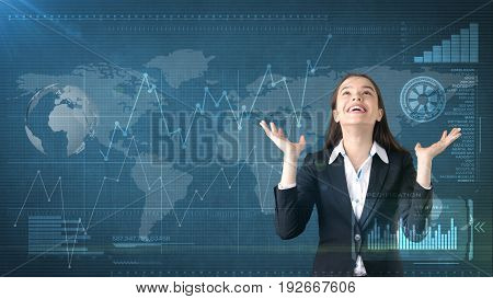 Smiling Businesswoman Exclamationing Splayed Hands At The Top With Copyspase. Business And Investmen