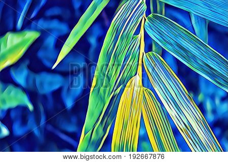 Colorful bamboo leaf on bush in tropical garden digital illustration. Botanical illustration of bamboo. Tropic nature flora. Zen poster template. Bamboo background