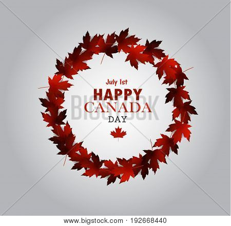 Leaf frame Canada Day card in vector format.