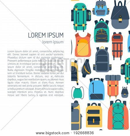 Vector Cartoon Flat Backpack, Sport Suitcase Background