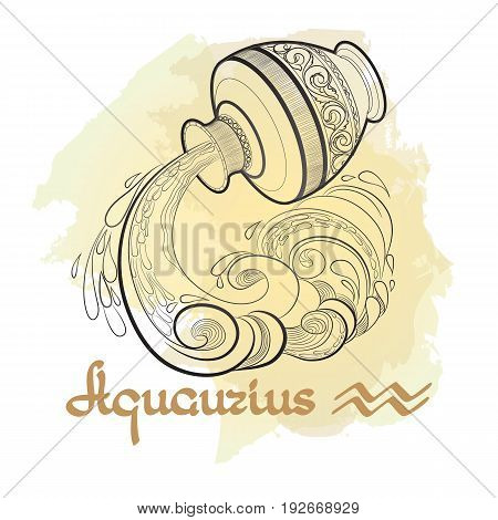 Hand drawn line art of decorative zodiac sign Aquarius on white background. Horoscope vintage card in doodle style with handwritten word.