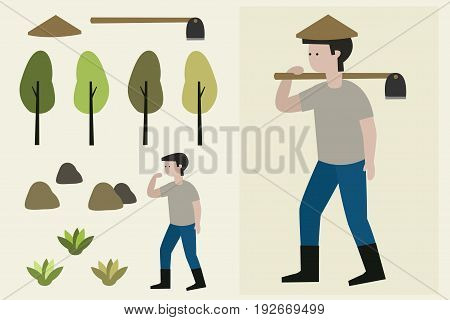 illustration farmer man with a hoe. character set.
