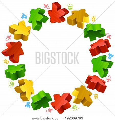 Circle frame of multicolored meeples for board games. Red, yellow and green game pieces, and resources counter icons isolated on white background. Vector border for design boardgames advertisement or template of geek t-shirt print