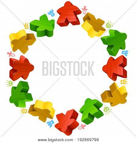 Hex frame of multicolored meeples for board games. Red, yellow and green game pieces, and resources counter icons isolated on white background. Vector border for design boardgames advertisement or template of geek t-shirt print