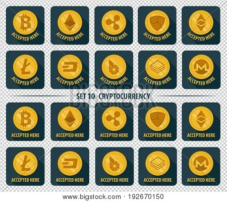Set of 10 flat currency cryptocurrency icon accepted