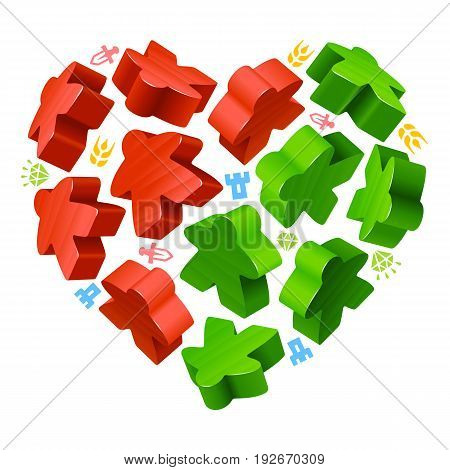 Vector game pieces in the shape of heart. Red and green wooden meeples, and resources counter icons isolated on white background. Concept of love by board games