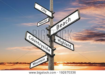 Travel destination choices on signpost, with sunset sky background