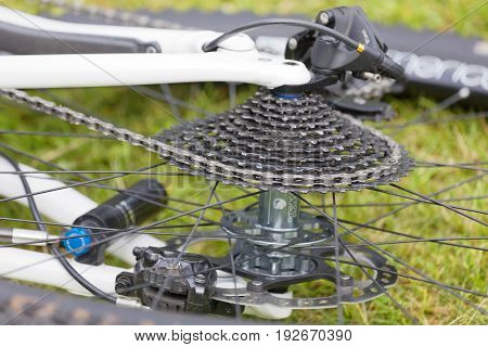 STOCKHOLM SWEDEN - JUNE 11: Closeup of mountainbike nave before the start in the race at Lida Loop Mountainbike Race. June 11 2017 in Stockholm Sweden