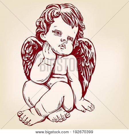 angel or cupid, little baby greeting card hand drawn vector illustration realistic sketch