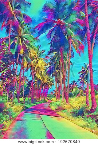 Sunshine in jungle with palm trees and road. Exotic island blooming nature and wild path. Tropic fantastic digital illustration. Palm trees and jungle vertical image. Summer travel roadside landscape