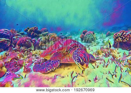 Sea turtle rest undersea. Tropical seashore fantastic digital illustration. Tortoise in wild nature. Exotic island seashore animal. Snorkeling underwater scene. Marine reptile green turtle and seaweed