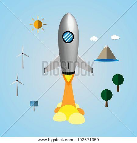 Technology And Business Start Up Soar Rocket