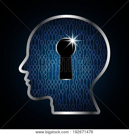 Technology Digital Future Abstract Cyber Security Human Head Keyhole Lock Binary Background