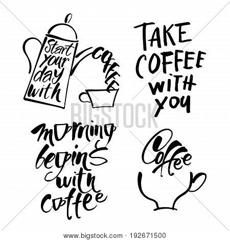 Vector cafe template with hand-drawn graphic. Quotes collection: Time for coffee. But first coffee. Take away. take coffee with you. Vector Illustration.