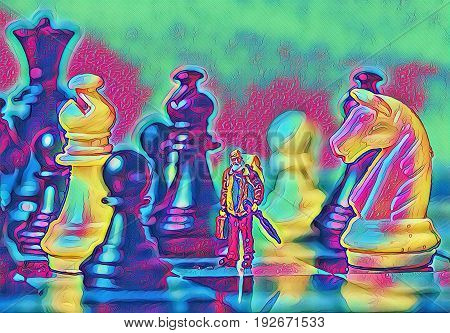 Chess figures and traveler fantastic digital illustration. Traveler in chessboard. Big figures and small man concept