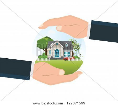House insurance concept isolated on white backgroundbusinessman hand holding home home safety security residential home real estate protection vector illustration.
