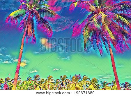 Fantastic tropical landscape with palm trees. Sunny day on exotic island. Beautiful tropical nature. Coco palm trees on sky background. Palm trees digital illustration. Tropic scene with coconut palms