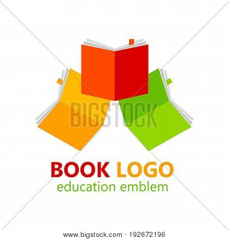 Library book logo template. Vector illustration. Education emblem.