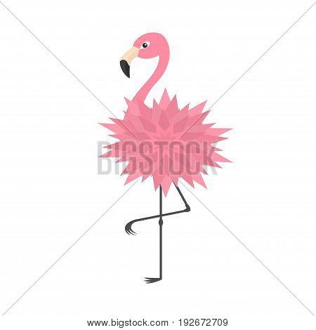 Pink flamingo standing on one leg. Flower body. Exotic tropical bird. Zoo animal collection. Cute cartoon character. Decoration element. Flat design. White background. Isolated. Vector illustration