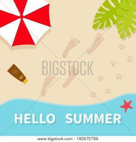 Hello summer. Top aerial view. Beach sea ocean sand red umbrella palm tree leaf star fish spf cream lotion bare foot print. Pawprint. Greeting card Summer time background. Flat design. Vector
