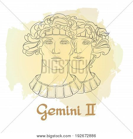 Hand drawn line art of decorative zodiac sign Gemini on white background. Horoscope vintage card in doodle style with handwritten word.