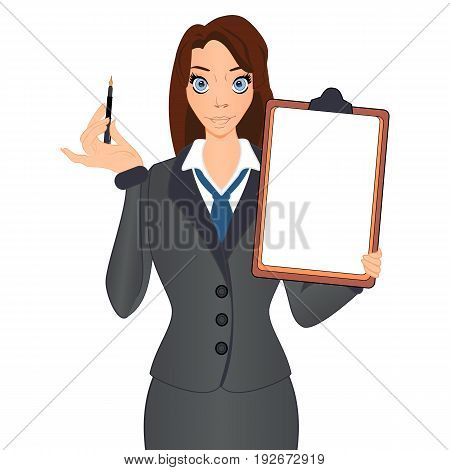 Successful Business Woman Hold Contract Sign Document. Business woman holds a pen to sign a contract