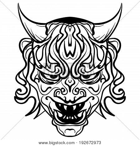 Abstract vector illustration black and white skull demon with horns tattoo demon