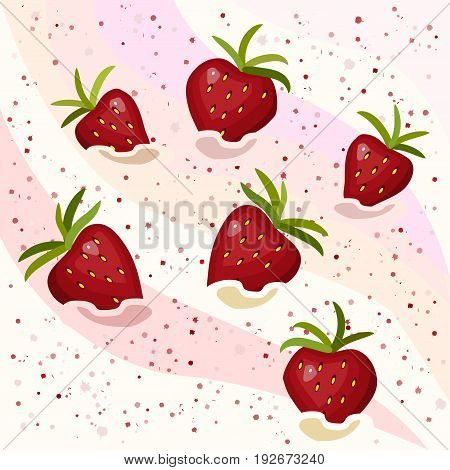 Cream with strawberries, strawberry mousse with berries, vector illustration