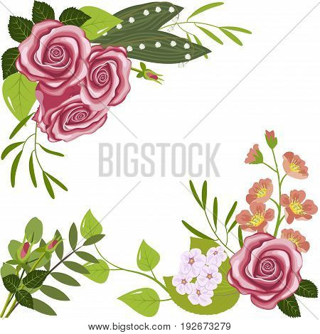 Greeting card, corner flower composition, roses, branches of flowering dogrose and cherry, lily of the valley flowers and leaves, isolated on white background, vector illustration