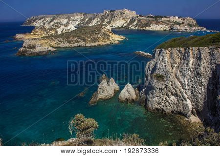View of San Nicola island from San Domino. Isole Tremiti in Italy