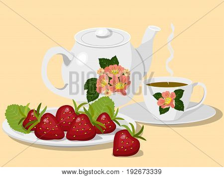Summer breakfast: a teapot and a cup of hot tea on a saucer and a plate of fresh strawberries, on a yellow background, vector illustration