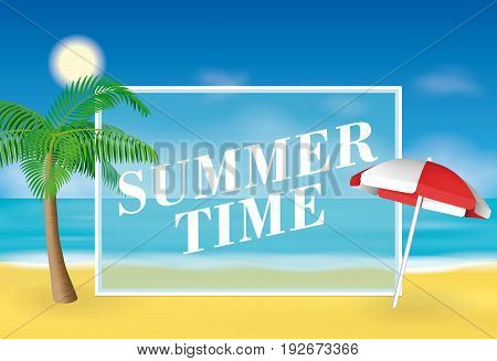 Summer time background. Palm tree and sun umbrella on the beach. Vector illustration for banners and promotions