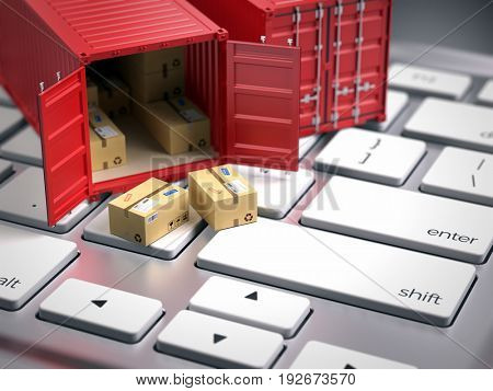 Red cargo freight shipping container on computer keyboard. Cargo shipping logistic concept. 3d render