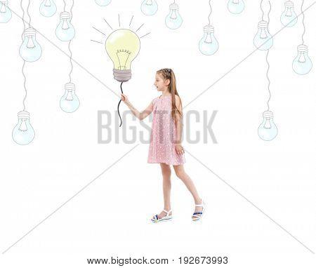 teen girl holding lightbulb, idea and creativity