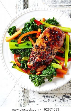 Grilled Teriyaki Chicken Breast with Vegetables