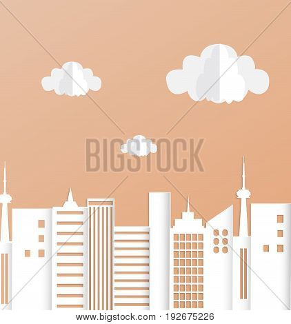 City skyline illustration. Urban landscape in cut paper art style..