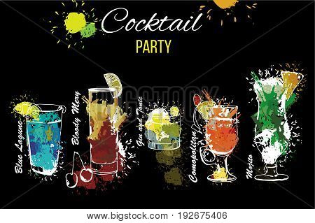 Vector illustration of Cocktail Party set . Template for cocktail menu. Alcohol, Summer drinks. Spray, spot and melted drips with watercolor effect.