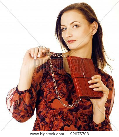 young pretty long hair woman happy smiling isolated on white background, wearing cute tiny fashion handbag, lifestyle people concept close up