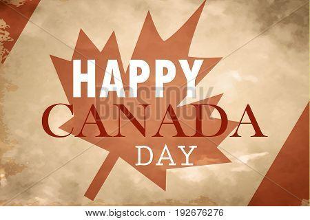 Happy Canada Day retro card in vector on grange background