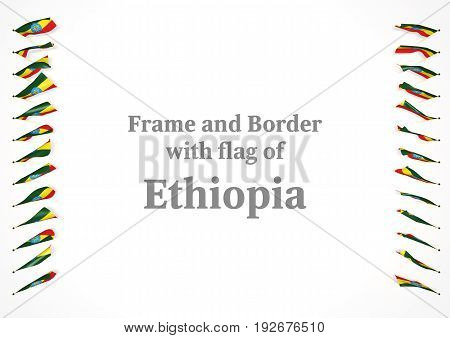 Frame And Border With Flag Of Ethiopia. 3D Illustration
