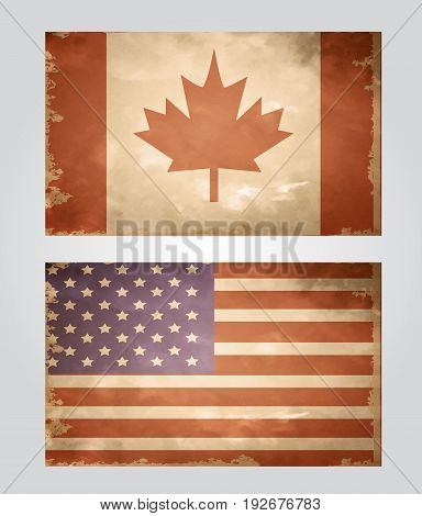 set of grunge flags of USA and Canada in color vector illustration
