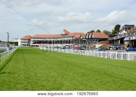 CHESTER, UK - JULY, 17 2016: Chester Racecourse also known as Roodee on a hot summers day, Chester, Cheshire, UK